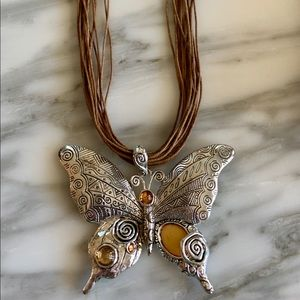Jewelry - Sterling Fine quality butterfly leather necklace